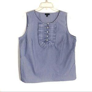 Talbots pinstripe ruffle neck popover sleeveless